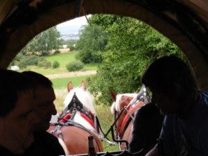 Blick aus dem Inneren des Planwagens auf Pferde und Landschaft